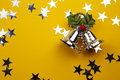 Free Christmas Bells On The Yellow Background Royalty Free Stock Images - 17216699