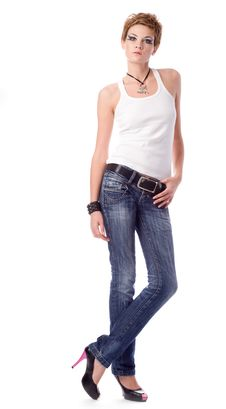 Free Young Woman In Shirt And Jeans Royalty Free Stock Photography - 17211187