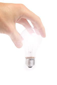Free Glowing Bulb In The Hand Stock Photos - 17211743