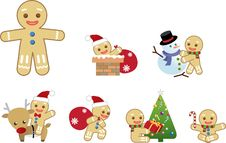Free Xmas Gingerbread Men Action Stock Images - 17211784