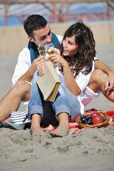Free Young Couple Enjoying  Picnic On The Beach Royalty Free Stock Photography - 17212007