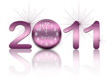 Free New Year Background With Clock And Figures 2011 Royalty Free Stock Images - 17212309