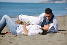 Free Happy Young Couple Have Fun At Beautiful Beach Stock Photography - 17212422