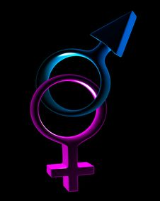 Man S And Female Symbols 3D Isolated Royalty Free Stock Photos