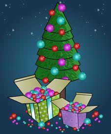 Christmas Tree And Gift Boxes Stock Image