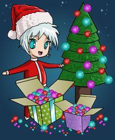 Christmas Tree, Gift Boxes And Cute Santa Royalty Free Stock Photos