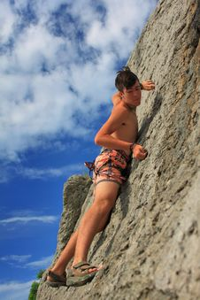 Free Climbers On The Rock Stock Images - 17212814