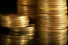 Free Coins On Black Stock Photos - 17214663