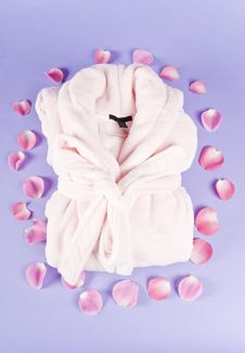 Free Pink Bathrobe Surrounded With Rose Pedals Royalty Free Stock Image - 17215026