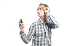 Free Young Handsome Man With Phone Royalty Free Stock Image - 17215436