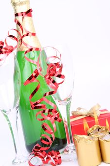 Free Champagne, Glasses, Christmas Decoration Stock Photos - 17216303