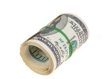 Rolled $100 Dollar Bills Stock Photo