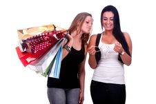 Free Happy And Disappointed Shopping Girls Stock Photos - 17216893