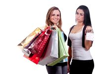 Free Happy And Disappointed Shopping Girls Royalty Free Stock Image - 17216946