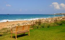 Free Lonely Bench On The Coast Royalty Free Stock Image - 17217576