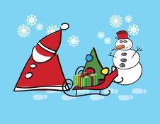 Santa Claus And Snow Man Stock Image