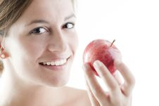 Beauty With A Red Apple Red Apple Royalty Free Stock Photos