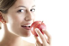 Free Beauty With A Red Apple Royalty Free Stock Image - 17218446