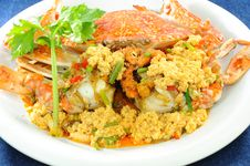 Stir-Fried Crab Whit Curry Powder Stock Images