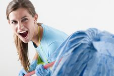 Free Crazy Housewife Fighting With Mop Stock Photo - 17218860