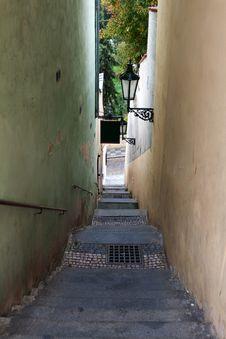 The Narrow Street In Prague Stock Photos
