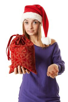 Free Beautiful Girl In Red Santa Hat Stock Images - 17219094