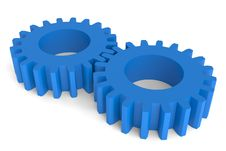 Blue Plastic Gears Stock Photography
