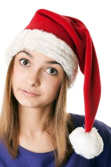 Free Beautiful Girl In Red Santa Hat Royalty Free Stock Photo - 17219415