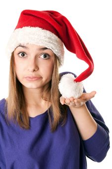 Free Beautiful Girl In Red Santa Hat Royalty Free Stock Photo - 17219505