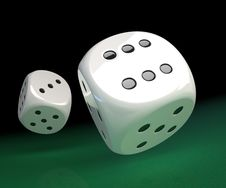 Free White Dice On Green Stock Photos - 17219563