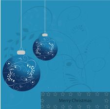 Free Merry X-mas Card Blue Stock Images - 17219614