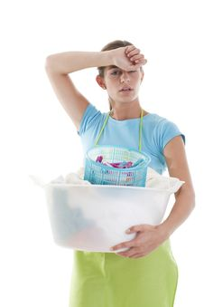 Free Tired Woman Doing The Laundry Royalty Free Stock Photos - 17219698