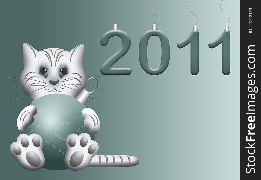 White cat symbol eastern chinese new 2011 year