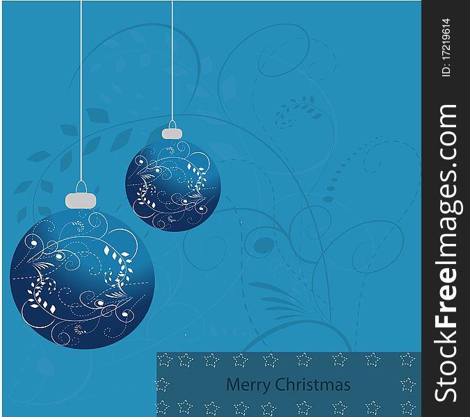 Merry x-mas card blue