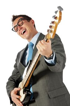 Free Young Businessman With Guitar Stock Image - 17220351