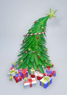 Free 3D Christmas Tree With Presents Royalty Free Stock Photos - 17220408