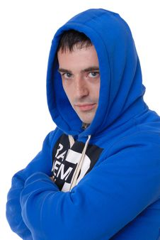 Male In Blue Hooded Top Royalty Free Stock Photo