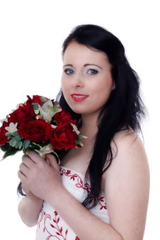 Free Cute Young Bride In White And Red Wedding Dress Stock Photo - 17220930