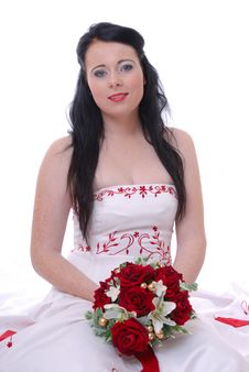 Free Cute Young Bride In White And Red Wedding Dress Stock Photos - 17220963