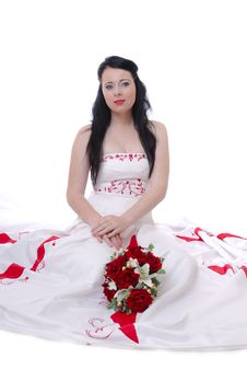 Free Cute Young Bride In White And Red Wedding Dress Royalty Free Stock Images - 17220969