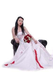Free Cute Young Bride In White And Red Wedding Dress Royalty Free Stock Photography - 17221007