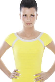 Fashion Brunette Woman In Yellow Dress Royalty Free Stock Photo