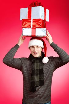 Free Man With Presents Stock Photos - 17221083