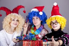 Free Three Girlfriends In Funny Hats Stock Photography - 17221132