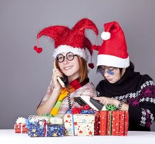 Free Two Girls Calling To Santa Royalty Free Stock Image - 17221176