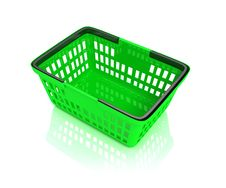 Free Green Shopping Basket Royalty Free Stock Photography - 17221177