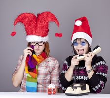 Free Two Girls Calling To Santa Royalty Free Stock Image - 17221186