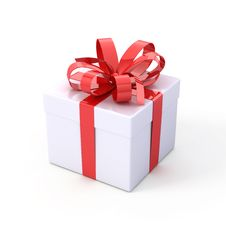 Free White Box With Red Bow Stock Images - 17221204