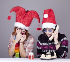 Free Two Girls Calling To Santa Royalty Free Stock Images - 17221209