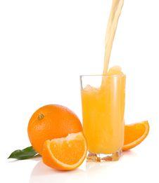 Free Flowing Juice And Orange Isolated On White Stock Photo - 17221230